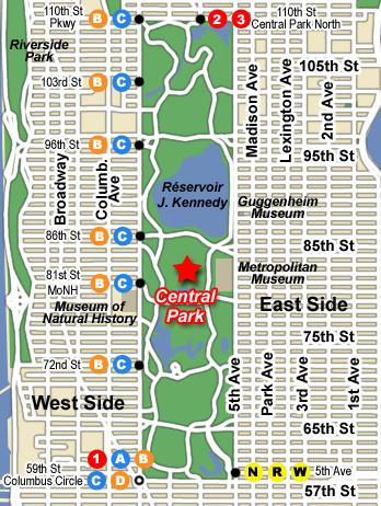 Plan d'accès à Central Park