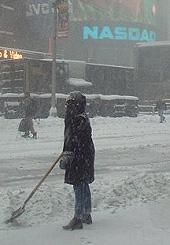 Times Square sous une tempête de neige !